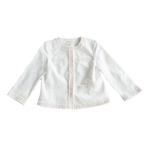 Michael Kors Size 8 Cream Linen Gold Snap Blazer